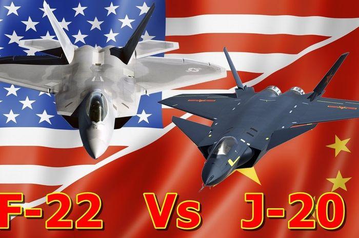 Ilustrasi F-22 Raptor vs J-20