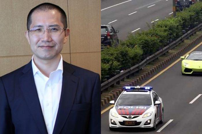 Pengacara Jepang, Kengo Nishigaki, kebingungan melihat adanya kawalan mobil polisi bagi rakyat biasa di Indonesia.