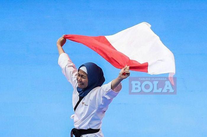 Defia Rosmaniar sumbang medali emas pertama untuk Indonesia dari cabang taekwondo Asian Games 2018