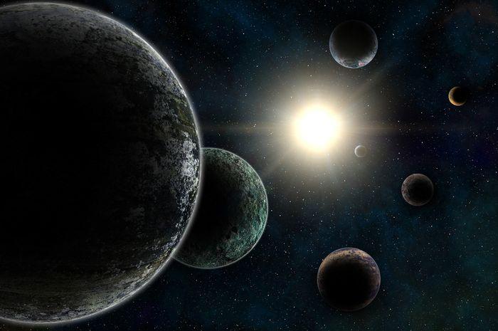 Ilustrasi sistem eksoplanet Trappist-1.