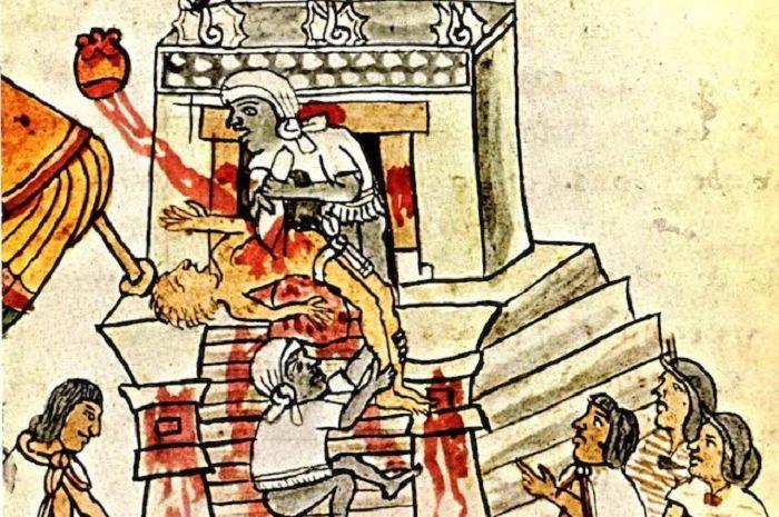 Ilustrasi ritual pengorbanan Aztec
