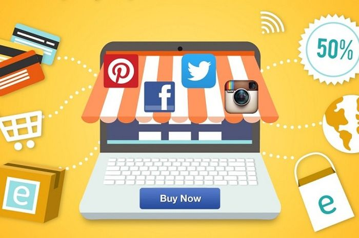 Ilustrasi e-commerce vs media sosial