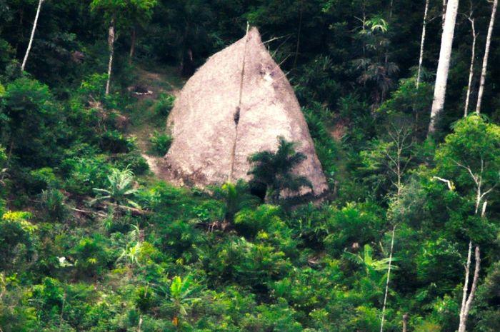 Gubuk besar di Amazon yang diduga menjadi tempat tinggal suku terasing.
