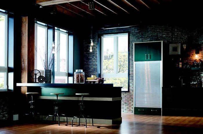 Dapur dengan warna dinding hijau dan biru