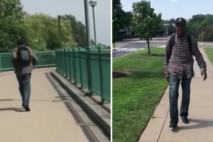 Pria tua ini berjalan kaki sejauh 20 Kilometer