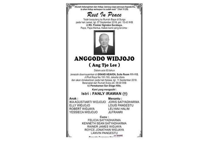 Anggodo Widjojo meninggal dunia di Surabaya.