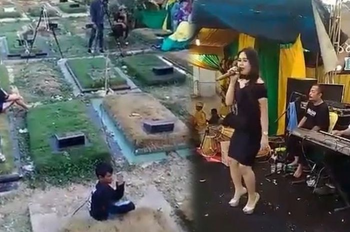 Sebuah video memperlihatkan panggung hajatan di area TPU Pondok Kelapa menjadi viral.