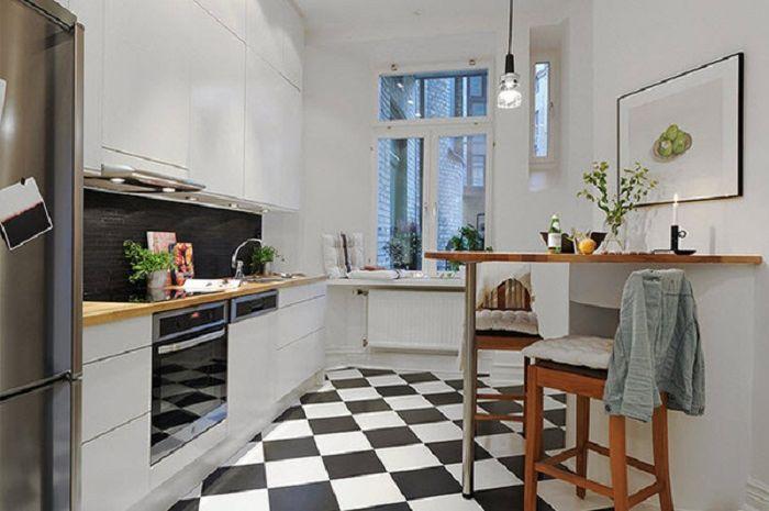 Keuntungan memiliki dapur berukuran kecil adalah dapur lebih cepat dibersihkan