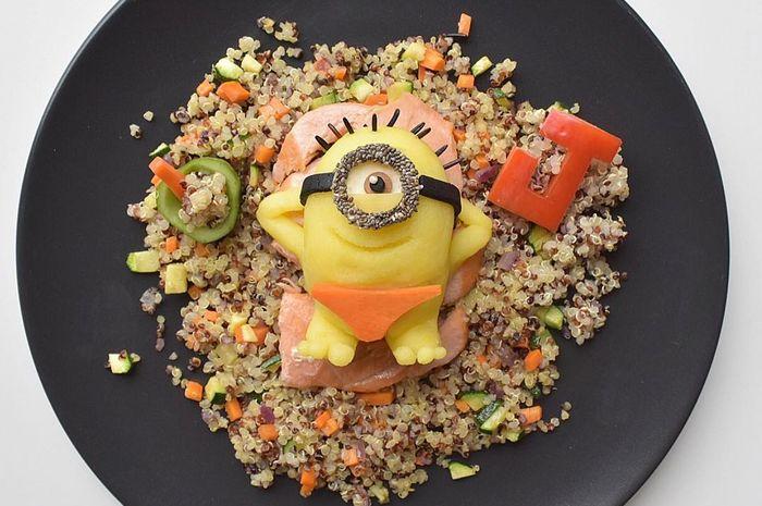 Karakter Minion dari makanan sehat