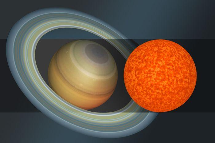 llustrasi bintang EBLM J0555-57Ab yang sebesar Planet Saturnus