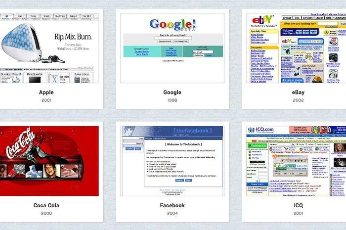 Tampilan berbagai website populer saat awal tercipta