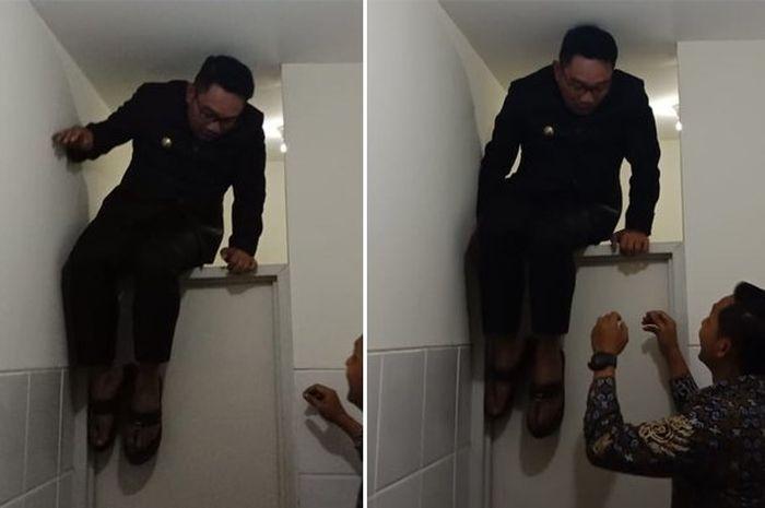Ridwan Kamil terjebak di kamar mandi