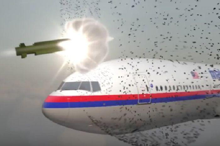 Ilustrasi pesawat Malaysia Airlines MH17 ditembak misil atau rudal.