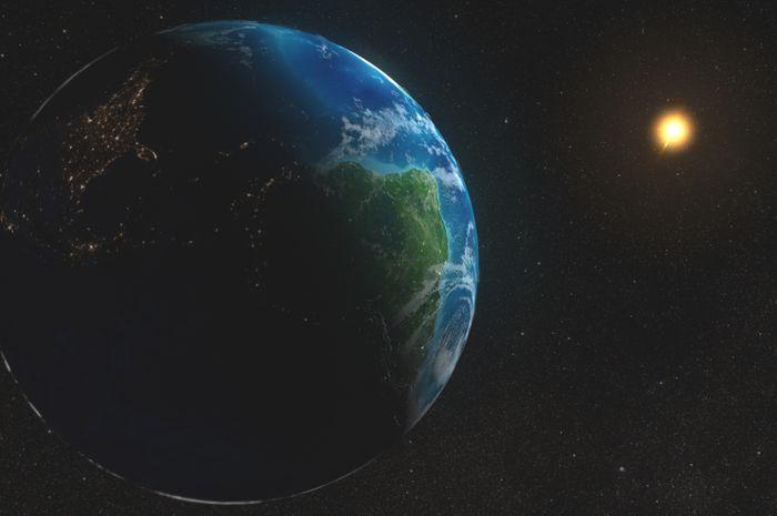 Ilustrasi bumi dan matahari