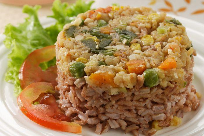 Nasi Tim Merah Udang Sayur