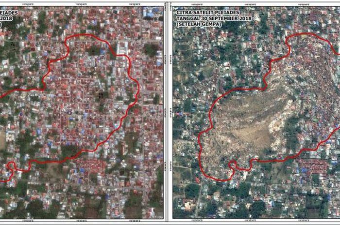 Citra satelit memperlihatkan kondisi Sulawesi Tengah sebelum dan sesudah gempa