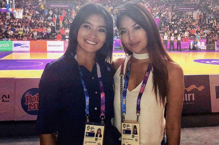 Mantan Puteri Indonesia, Anindya Kusuma Puteri dan Maria Selena menyaksikan pertandingan Asian Para Games 2018.