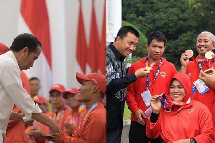 Pemberian bonus dari Presiden Jokowi kepada para atlet peraih medali pada ajang Asian Para Games 2018 di Istana, Sabtu (13/10/2018).