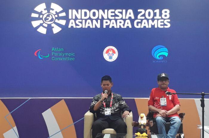Raja Sapta Oktohari dalam konferensi pers di Main Press Center, MPC, GBK Arena, Jakarta Pusat, Sabtu (13/10/2018).