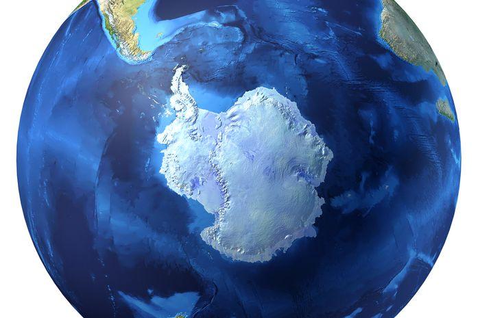 Ilustrasi Antartika jika dilihat dari atas.