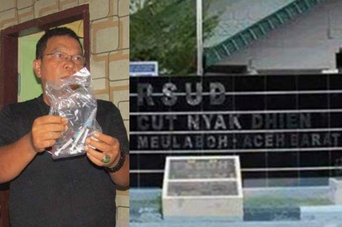 Kasat Reskrim Polres Aceh Barat, Iptu M Isral (kiri) didampingi KBO Reskrim dan Kanit Resmob memperlihatkan barang bukti jarum suntik dan infus terkait kasus meninggalnya seorang anak di RSUD Cut Nyak Dhien, Meulaboh.