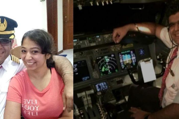Captain Bhavye Suneja, pilot Lion Air JT 610 saat berfoto dengan istrinya serta ketika berada di kokpit pesawat