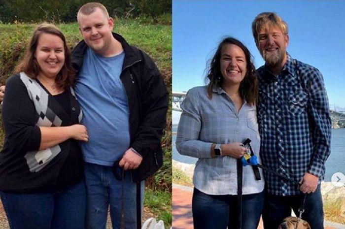 Pasangan suami istri yang berhasil menurunkan berat badan hingga ratusan kilogram dengan diet keto.