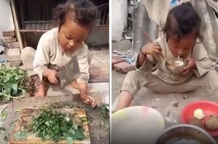 Salut dan Kagum! Gadis 7 Tahun Ini Hidup Sendiri di Gunung Sampai Bisa Masak dan Urus Ternak