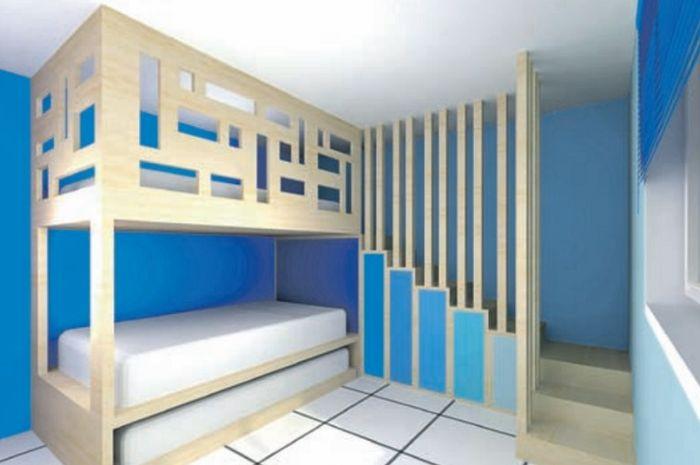Inspirasi desain kamar anak ini berukuran sekitar 3,5m x 4,5m.