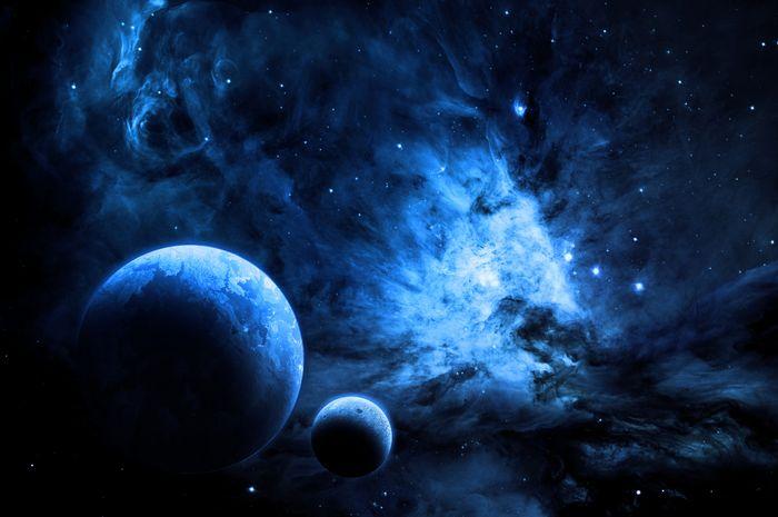 Ilustrasi ruang angkasa yang asing.