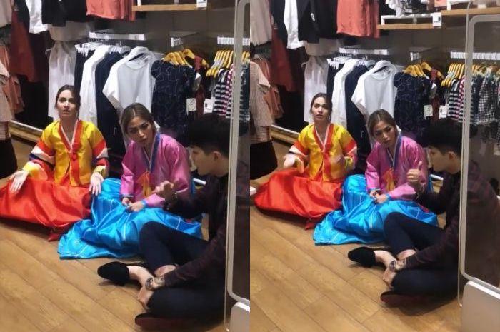 Penampilan Nia Ramadhani saat ngemper bareng Jessica Iskandar di toko pakaian