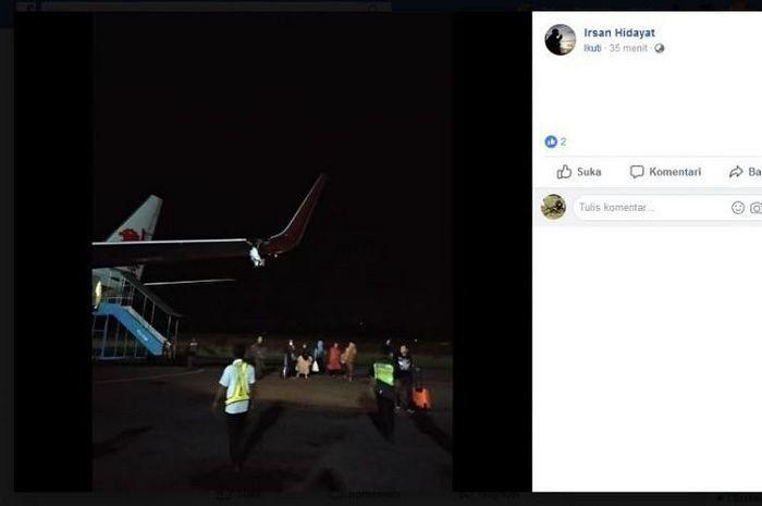 Sayap Kiri Pesawat Lion Air Tabrak Tiang di Bandara Fatmawati Bengkulu