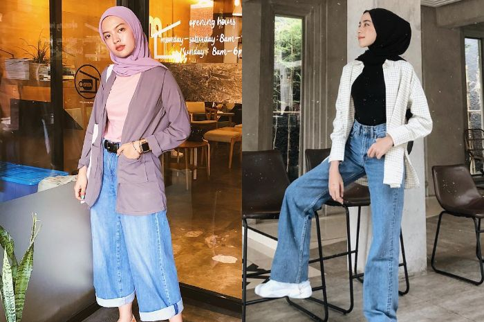 Inspirasi mix and match celana wide leg jeans ala selebgram hijabers
