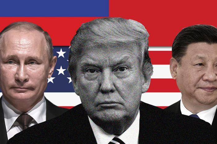 Vladimir Putin, Donald Trump, dan Xi Jinping (kolase)
