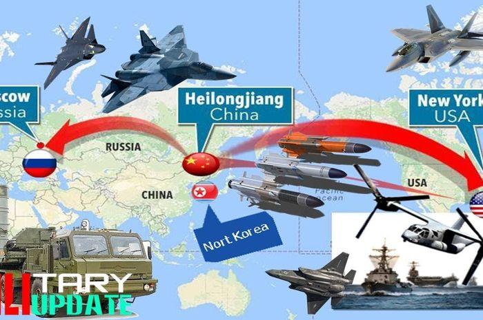 Ilustrasi Amerika Serikat berperang melawan China dan Rusia.