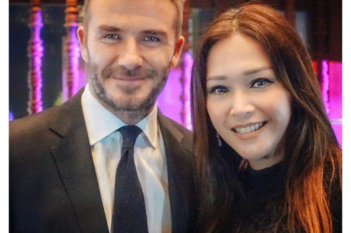 Maia Estianty berfoto bersama David Beckham