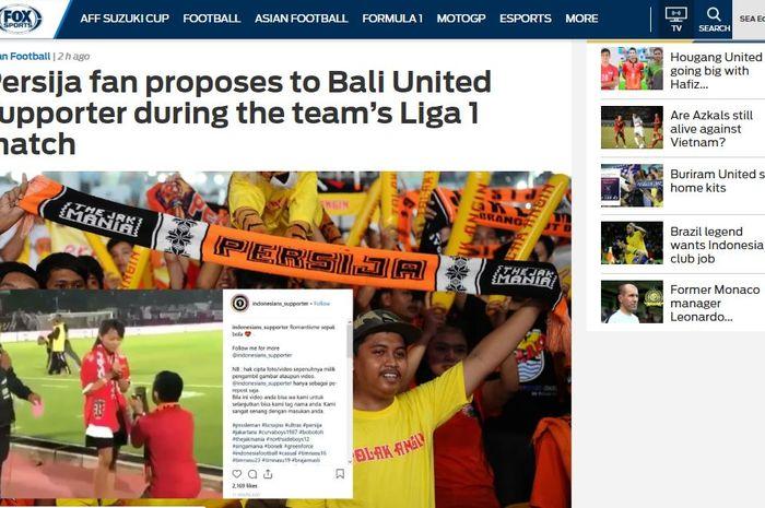 Media luar Fox Sports Asia turut memberitakan The Jakmania yang melamar Lady Dewata dalam laga Persija Jakarta kontra Bali United pekan ke-33 Liga 1 2018, Minggu (2/12/2018).