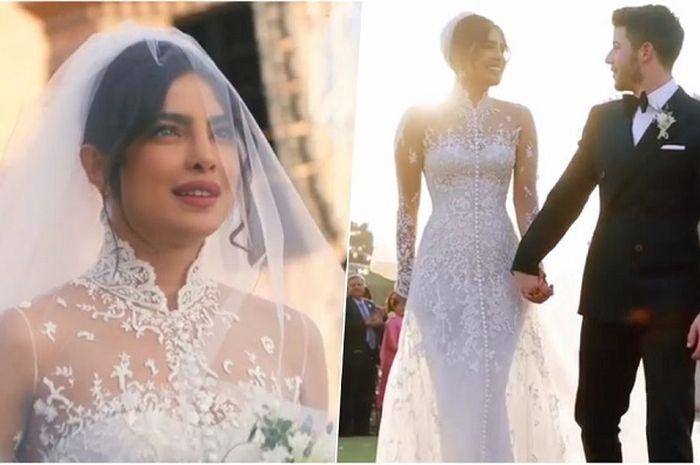 Resmi Menikah, Priyanka Chopra Pakai Gaun Pengantin Sepanjang 23 Meter