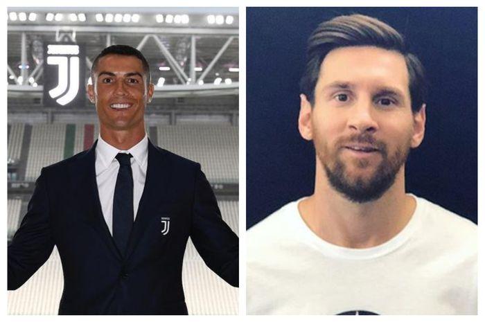 Cristiano Ronaldo (kiri) dan Lionel Messi (kanan).