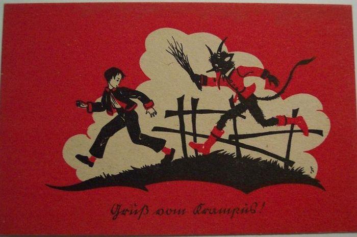Salah satu gambar kartu Krampus mengejar anak-anak di tahun 1900-an