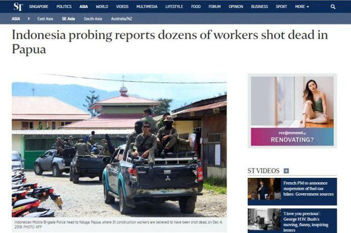 Tragedi Pembantaian 31 Pekerja di Nduga, Media Asing Ikut Soroti Aksi Brutal KKB di Papua