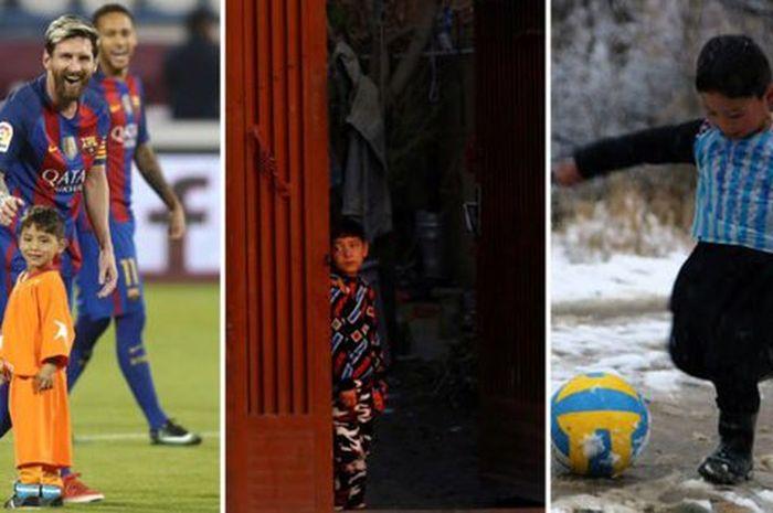 Murtaza Ahmadi memakai jersey timnas Argentina lengkap dengan nama Lionel Messi, yang terbuat dari kantong plastik.