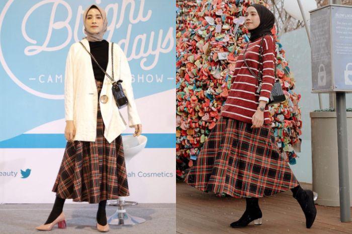 Tren gaya hijab 2019 dengan rekomendasi rok motif kotak-kotak