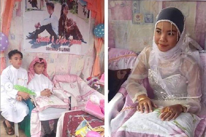 Viral Bocah 9 Tahun Nikahi Gadis 14 Tahun Bentuk Kue