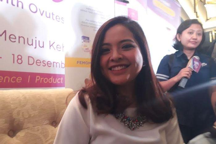 Tasya Kamila saat konfrensi pers Sensitif Journey with Ovutest di Raffles Hotels, Kuningan, Jakarta Selatan pada Selasa (18/12/2018).
