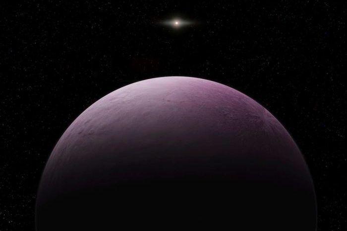 Ilustrasi planet kerdil Farout yang berwarna merah muda.
