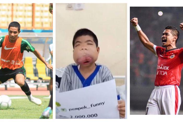 Kolase foto Arga Niko Saputra diantara Evan Dimas (kiri) dan Bambang Pamungkas.