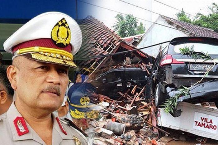Kakorlantas Polri, Irjen Pol. Drs. Refdi Andri, M.Si., himbau korban tsunami banten