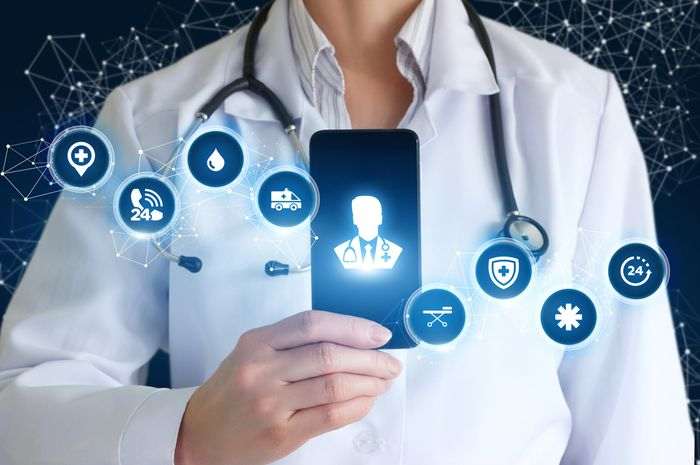 Ilustrasi teknologi dan kedokteran dalam aplikasi.