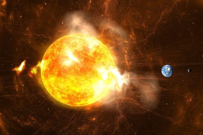 Ilustrasi fenomenya Matahari bersin.